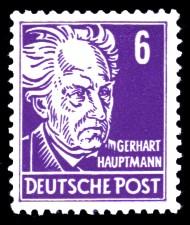 6 Pf Briefmarke: Gerhart Hauptmann, Freimarke, Persönlichkeiten aus Politik, Kunst und Wissenschaft