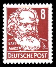 8 Pf Briefmarke: Karl Marx, Freimarke, Persönlichkeiten aus Politik, Kunst und Wissenschaft