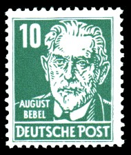 10 Pf Briefmarke: August Bebel, Freimarke, Persönlichkeiten aus Politik, Kunst und Wissenschaft