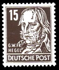 15 Pf Briefmarke: G.W.Fr.Hegel, Freimarke, Persönlichkeiten aus Politik, Kunst und Wissenschaft