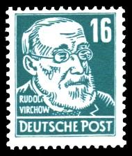 16 Pf Briefmarke: Rudolf Virchow, Freimarke, Persönlichkeiten aus Politik, Kunst und Wissenschaft