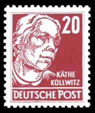 20 Pf Briefmarke: Käthe Kollwitz, Freimarke, Persönlichkeiten aus Politik, Kunst und Wissenschaft