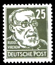 25 Pf Briefmarke: Rudolf Virchow, Freimarke, Persönlichkeiten aus Politik, Kunst und Wissenschaft