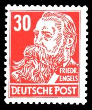 30 Pf Briefmarke: Friedrich Engels, Freimarke, Persönlichkeiten aus Politik, Kunst und Wissenschaft
