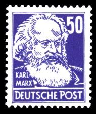 50 Pf Briefmarke: Karl Marx, Freimarke, Persönlichkeiten aus Politik, Kunst und Wissenschaft