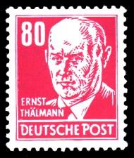 80 Pf Briefmarke: Ernst Thälmann, Freimarke, Persönlichkeiten aus Politik, Kunst und Wissenschaft