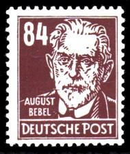 84 Pf Briefmarke: August Bebel, Freimarke, Persönlichkeiten aus Politik, Kunst und Wissenschaft