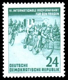 24 Pf Briefmarke: 6. Internationale Radfernfahrt für den Frieden