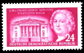 24 Pf Briefmarke: 200. Todestag Georg Wenzeslaus von Knobelsdorff