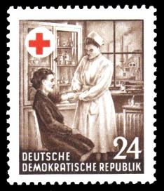 24 Pf Briefmarke: Erster Jahrestag der Gründung des Roten Kreuzes in der DDR