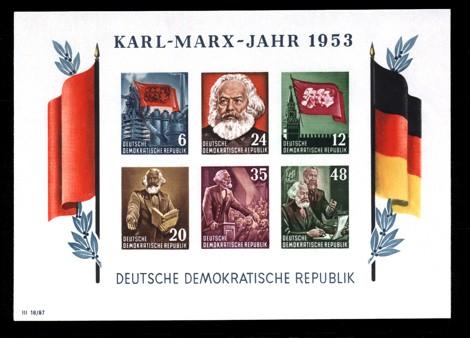 2,5 Briefmarke: Block - Karl Marx Jahr