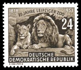 24 Pf Briefmarke: 75 Jahre Leipziger Zoo