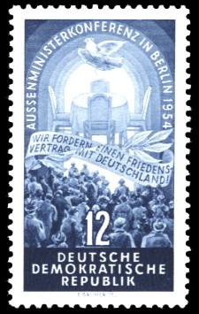 12 Pf Briefmarke: Aussenministerkonferenz in Berlin 1954