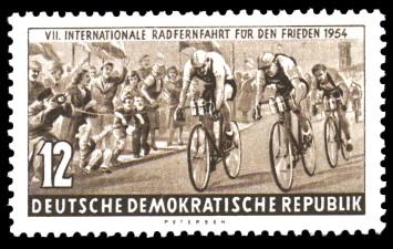 12 Pf Briefmarke: VII. Internationale Radfernfahrt für den Frieden