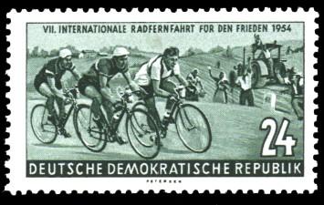 24 Pf Briefmarke: VII. Internationale Radfernfahrt für den Frieden