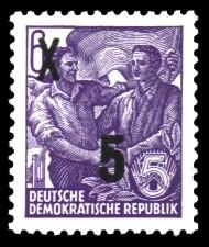 5 auf 6 Pf Briefmarke: 3.Ausgabe der Freimarkenserie Fünfjahresplan mit Aufdrucken
