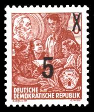 5 auf 8 Pf Briefmarke: 3.Ausgabe der Freimarkenserie Fünfjahresplan mit Aufdrucken