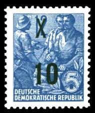 10 auf 12 Pf Briefmarke: 3.Ausgabe der Freimarkenserie Fünfjahresplan mit Aufdrucken