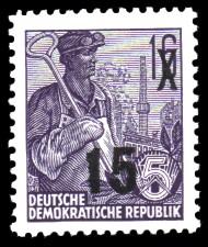 15 auf 16 Pf Briefmarke: 3.Ausgabe der Freimarkenserie Fünfjahresplan mit Aufdrucken