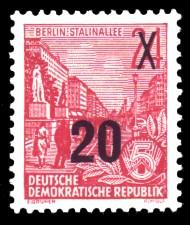 20 auf 24 Pf Briefmarke: 3.Ausgabe der Freimarkenserie Fünfjahresplan mit Aufdrucken