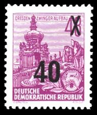 40 auf 48 Pf Briefmarke: 3.Ausgabe der Freimarkenserie Fünfjahresplan mit Aufdrucken