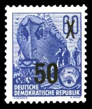 50 auf 60 Pf Briefmarke: 3.Ausgabe der Freimarkenserie Fünfjahresplan mit Aufdrucken