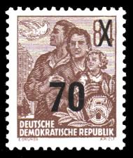 70 auf 84 Pf Briefmarke: 3.Ausgabe der Freimarkenserie Fünfjahresplan mit Aufdrucken