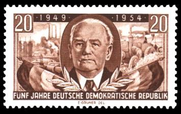 20 Pf Briefmarke: 5 Jahre Deutsche Demokratische Republik