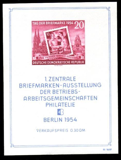 0,30 DM Briefmarke: Blockausgabe - Tag der Briefmarke 1954