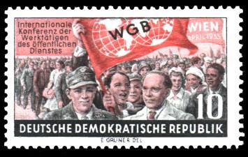 10 Pf Briefmarke: Internationale Konferenz der Werktätigen des öffentlichen Dienstes, WGB