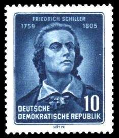 10 Pf Briefmarke: 150. Todestag von Friedrich Schiller