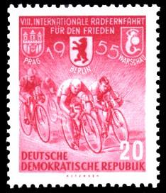 20 Pf Briefmarke: 8. Internationale Radfernfahrt für den Frieden 1955