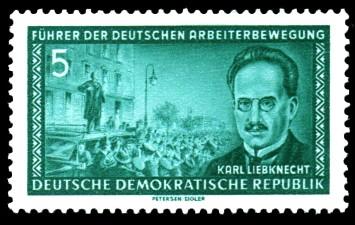 5 Pf Briefmarke: Führer der deutschen Arbeiterbewegung, Karl Liebknecht