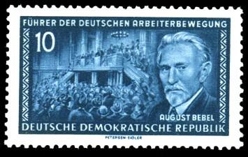 10 Pf Briefmarke: Führer der deutschen Arbeiterbewegung, August Bebel