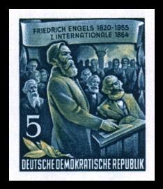 5 Pf Briefmarke: 60.Todestag von Friedrich Engels (Marke aus Block)