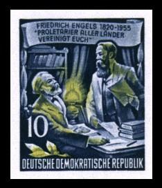 10 Pf Briefmarke: 60.Todestag von Friedrich Engels (Marke aus Block)