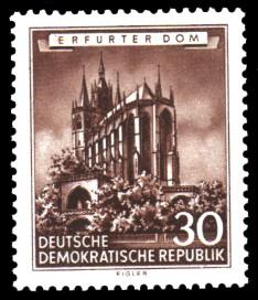 30 Pf Briefmarke: Historische Bauten der DDR, Erfurter Dom