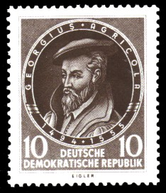 10 Pf Briefmarke: 400. Todestag von Georgius Agricola