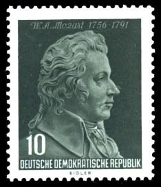 10 Pf Briefmarke: 200. Geburtstag W. A. Mozart