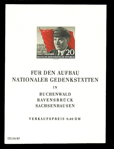 0,40 DM Briefmarke: Block - 70. Geburtstsg Ernst Thälmann