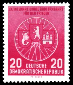 20 Pf Briefmarke: 9. Internationale Radfernfahrt für den Frieden
