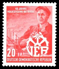 20 Pf Briefmarke: 10 Jahre volkseigene Betriebe