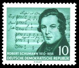 10 Pf Briefmarke: 100. Todestag von Robert Schumann