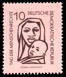 10 Pf Briefmarke: Tag der Menschenrechte