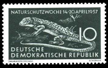 10 Pf Briefmarke: Naturschutzwoche 14-20 April 1957