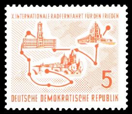 5 Pf Briefmarke: 10. Internationale Radfernfahrt für den Frieden