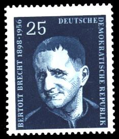 25 Pf Briefmarke: 1. Todestag von Bertold Brecht