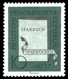 10 Pf Briefmarke: Sparwochen 1957