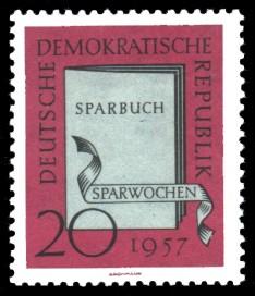 20 Pf Briefmarke: Sparwochen 1957