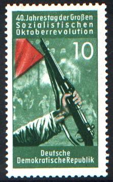 10 Pf Briefmarke: 40. Jahrestag der Großen Sozialistischen Oktoberrevolution